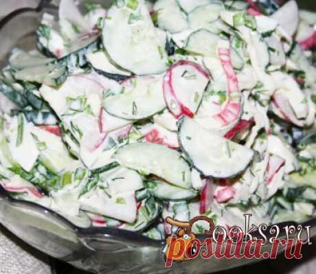 """Салат с редисом, сыром и крабовыми палочками """"Калейдоскоп"""" фото рецепт приготовления"""