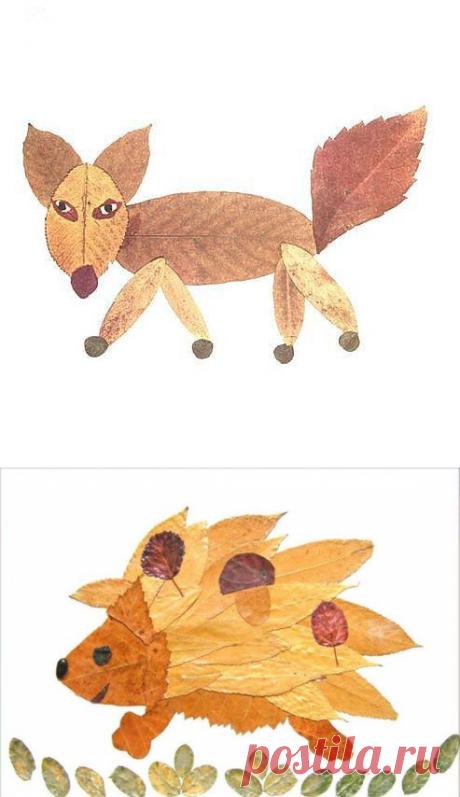 Картинки из осенних листьев — Поделки с детьми