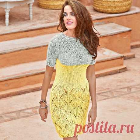 Двухцветное платье сажурной юбкой - схема вязания спицами. Вяжем Платья на Verena.ru