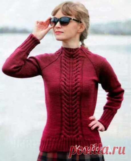 Пуловер спицами «Колос». Вязаный женский пуловер схемы и описание