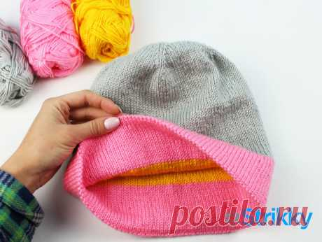 Двухсторонняя вязаная шапка
