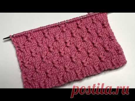 Красивый и очень простой рельефный узор спицами для вязания шапок, джемперов и детских изделий