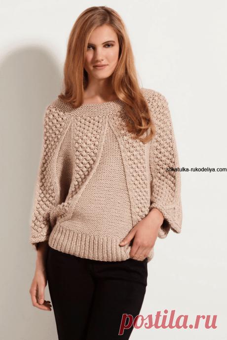 Пуловер женский с рукавом реглан спицами.