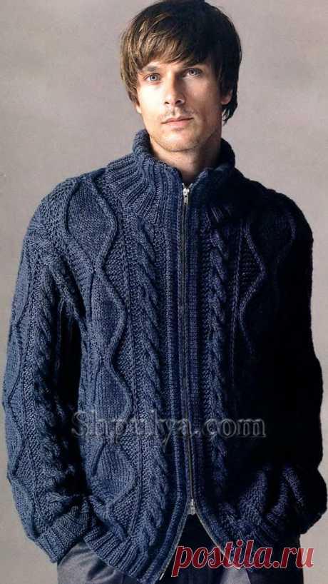 Синий мужской жакет на молнии, вязаный спицами - SHPULYA.com