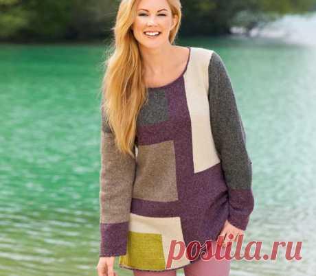 Пуловер с узором «пэчворк» - схема вязания спицами. Вяжем Пуловеры на Verena.ru