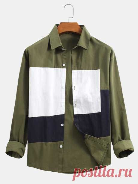 Cotton Solid Color Patchwork Button Up Long Sleeve Design Shirts For Men - US$32.99