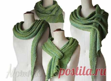 Оригинальная трансформация: шарф-шаль спицами (Вязание спицами) – Журнал Вдохновение Рукодельницы