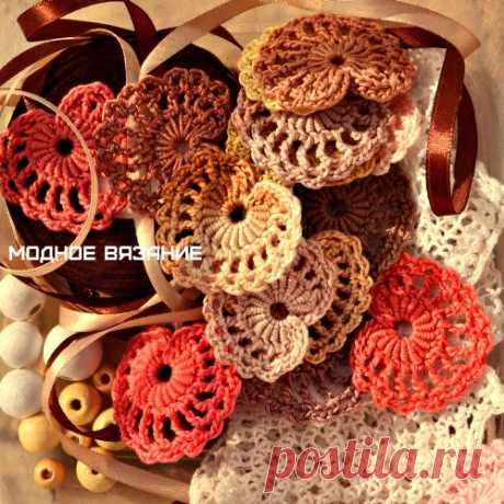 Мотив сердечко крючком - Модное вязание
