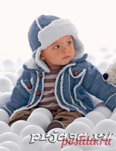 Зимняя шапка спицами мальчику
