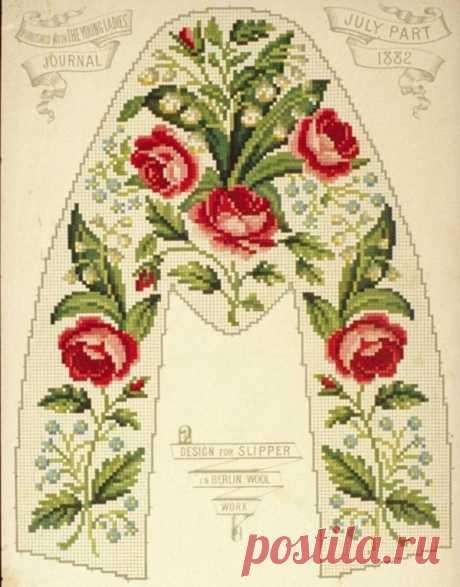 Вышивка крестом — красивые старинные схемы Petit Point