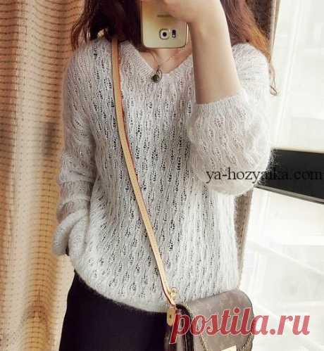 Нежный пуловер из мохера спицами.Связать женский свитер из мохера спицами
