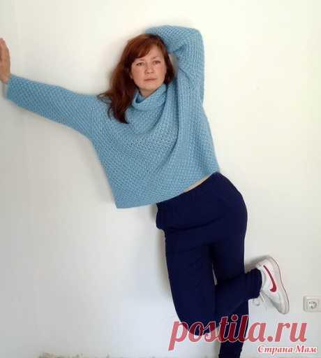 """Голубой свитер узором """"Звездочки"""" - Вязание - Страна Мам"""