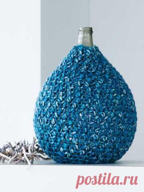 Обвязка для бутыли - схема вязания крючком. Вяжем Все для дома на Verena.ru