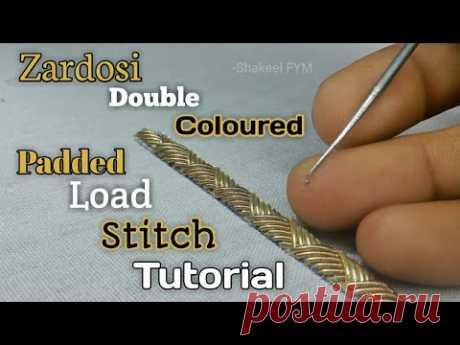 ZARDOSI DOUBLE COLOURED PADDED LOAD STITCH TUTORIAL | Zardosi padded zigzag stitch | Zardosi work - YouTube