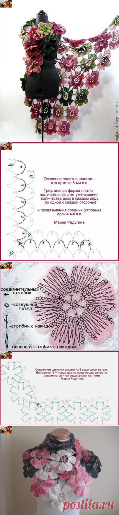 """Шикарная шаль """"Цветы"""" (Вязание крючком) – Журнал Вдохновение Рукодельницы"""
