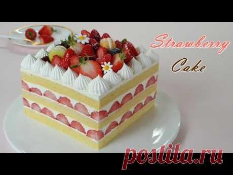 Как сделать мягкий ванильный бисквит с клубничным тортом / ASMR / Домашняя выпечка