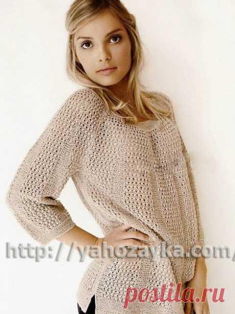 Схема вязания спицами красивого свитера в нежных тонах - вязание для домохозяек.
