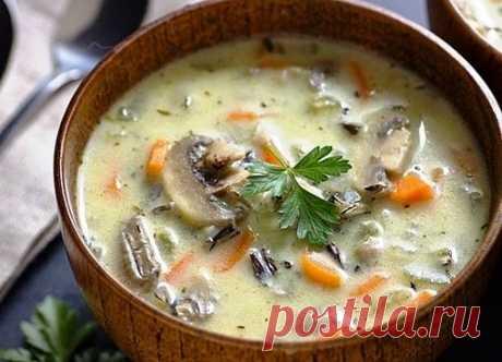 Сливочный суп с рисом и грибами | Про рецептики - лучшие кулинарные рецепты для Вас!