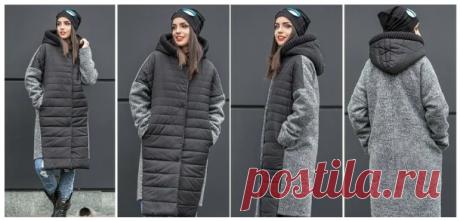 Выкройка модного комбинированного пальто