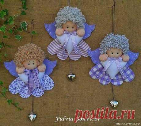 Выкройка маленьких текстильных ангелочков с валентинками