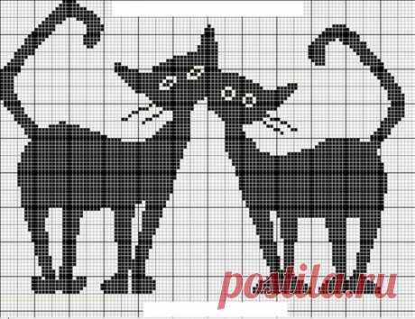 Кошачий монохром - вышивка крестом. Схемы для вышивки.