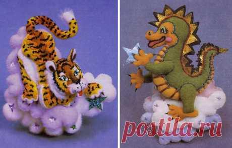 Мягкие игрушки. Восточный календарь. Дракон и тигр..