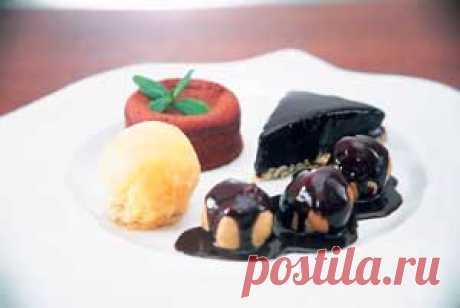 Шоколадная тарелка — АРЕНА Шоколадная тарелка В шоколадную тарелку входят одна порция мусса »Бейлис», шоколадный десерт, три профитрольки, облитые горячим шоколадом, и апельсиновый шербет.   Ингредиенты  Мусс »Бейлис»: Сливки — 50 г Шоколад черный — 250 г Шоколад молочн. — 250 г Ликер »Бейлис» — 100 г Взбитые сливки — 50 г Шоколадная глазурь: Молоко — 100 г Черный шоколад — 200 г Сливочное масло — 20 г