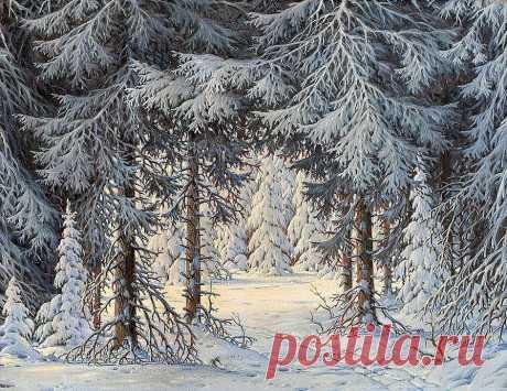 Схема вышивки «Зимний лес.» - Вышивка крестом