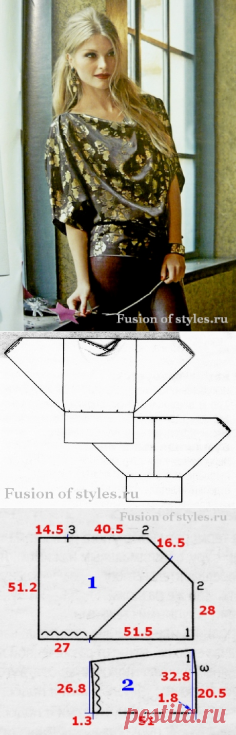 Free blouse with a wide belt | All about fashion, style, sewing and needlework MERGE of STYLES