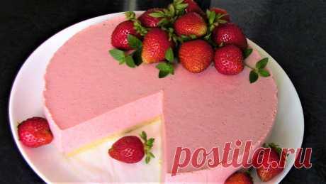 Самый простой и самый Вкусный КЛУБНИЧНЫЙ ТОРТ ЧИЗКЕЙК БЕЗ ВЫПЕЧКИ! Клубничный десерт.