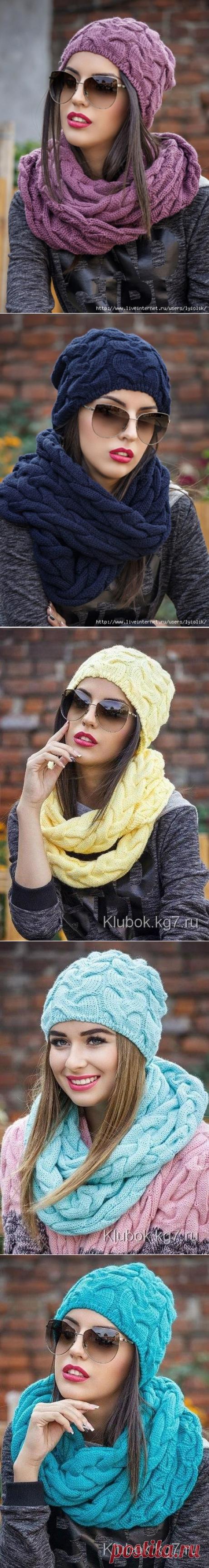 "Вязаная шапка и шарф-хомут ""Джейни"""