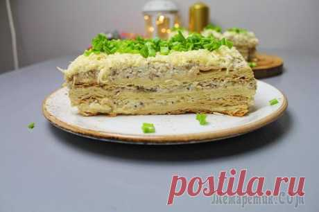 """Закусочный Торт """"Наполеон"""". Вкусный, сытный и в меру влажный закусочный торт """"Наполеон"""". Такой торт закуска пользуется огромным успехом на праздничном столе и обязательно понравится всем Вашим гостям. Приготовьте такой обалденны..."""