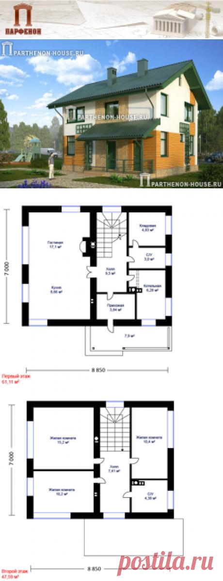 Проект небольшого двухэтажного дома из газобетона ЯК 100-8  Площадь застройки: 78,50 кв.м. Площадь общая помещений: 100,80 кв.м. Площадь жилая: 53,00 кв.м. Площадь крыльца: 7,90 кв.м. Строительный объем: 700,00 куб.м. Высота 1 этажа: 2,810 м. Высота 2 этажа: 2,565 м. Высота дома в коньке от уровня земли: 8,390 м.   Комната на 1 этаже: да. Тех. помещение-котельная: да. Кладовая: да. Камин: да.   Технология и конструкция: Строительство дома из газобетона.