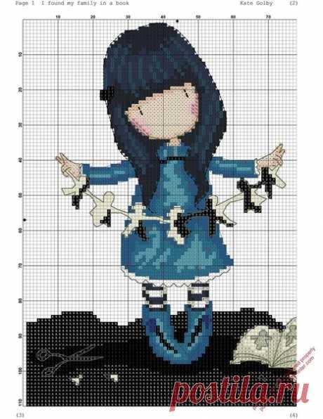 Девочка с бумажной гирляндой. Схема