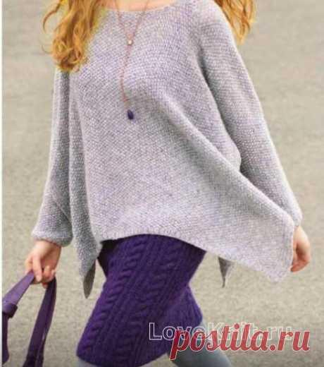 Пуловер-пончо с асимметричной длиной и юбка с косами схема спицами » Люблю Вязать