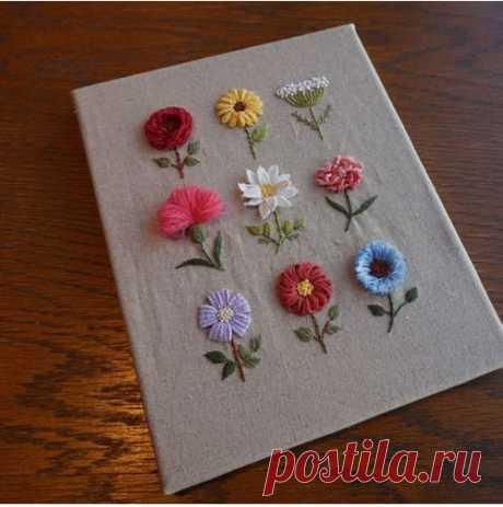 Как сделать простую цветочную вышивку