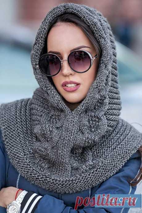 Женский модный вязаный капор спицами — варианты цветовых решений | Вязание Шапок - Модные и Новые Модели