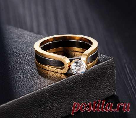 Кольцо обручальное с фианитом, из нержавеющей стали Кольца для помолвки    АлиЭкспресс