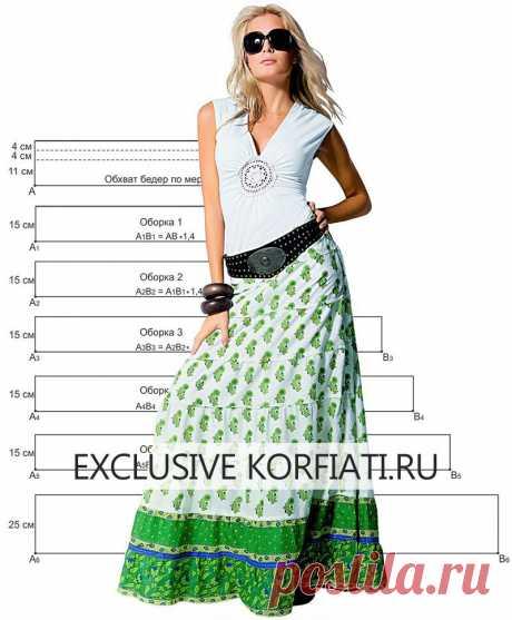 Супер-просто! Выкройка длинной юбки с оборками  https://korfiati.ru/2012/05/dlinnaya-yubka-s-pyatyu-oborkami/  Длинные юбки вновь в тренде, и это не может не радовать, поскольку длинная юбка — лучшее решение для жарких летних дней. Такая модель будет надежно защищать ноги от агрессивных солнечных лучей и дарить прохладу. Сшить эту великолепную юбку с оборками не составит труда даже для новичков, ведь даже выкройка вам не потребуется, достаточно выполнить несколько простых ...