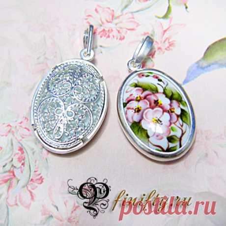 кулончик Вставка: финифть Оправа: латунь, двойное серебрение.