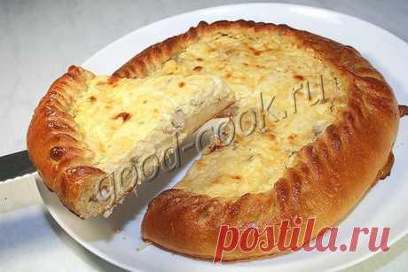 Открытый пирог с курицей и сыром!..