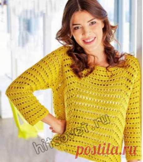 Летний пуловер крючком - Хитсовет Летний пуловер крючком. Модный женский пуловер из хлопка на лето для начинающих рукодельниц с пошаговым описанием и схемами вязания.