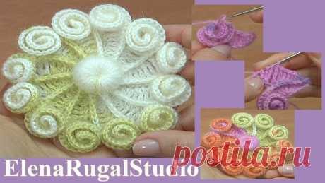 Как связать крючком красивый цветок с навязками   Студия Елены Ругаль Вязание   Яндекс Дзен