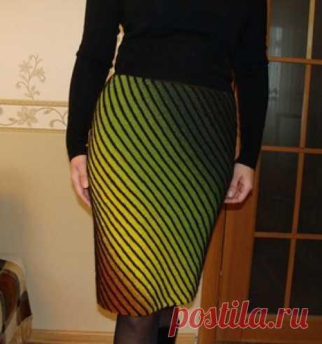 Диагональное вязание юбки спицами — Делаем Руками