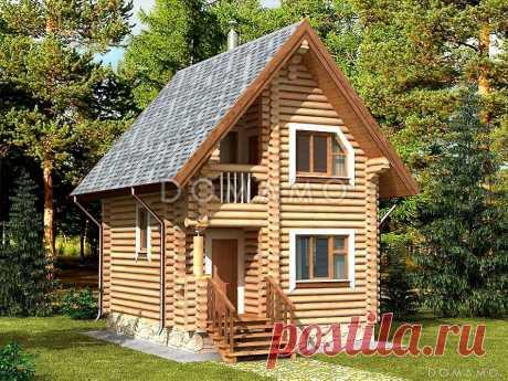 Проект деревянной бани с тремя небольшими спальными комнатами D874 | Каталог проектов Домамо