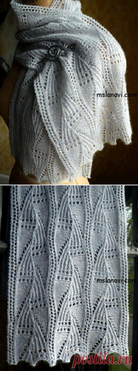 Белый ажурный шарф спицами | Вяжем с Лана Ви