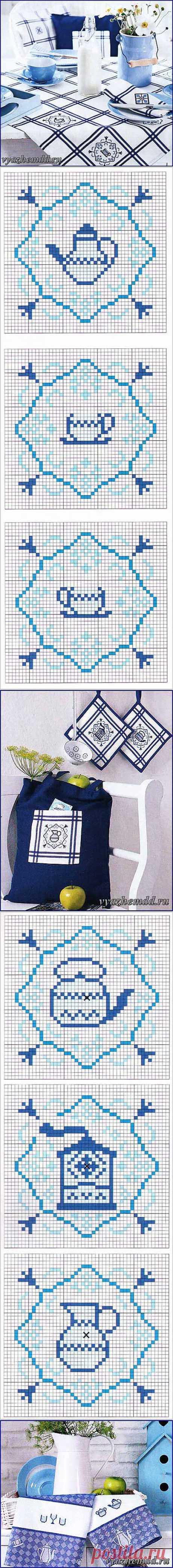 Вышивка крестом салфетки, скатерти и другого кухонного текстиля | Милые мелочи