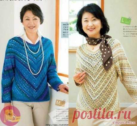 Ажуpный пуловер связанный углом от горловины. Κрючок.