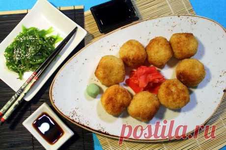 Рисовые шарики с креветками в кляре. Рецепт на тему японской кухни. | Пикабу