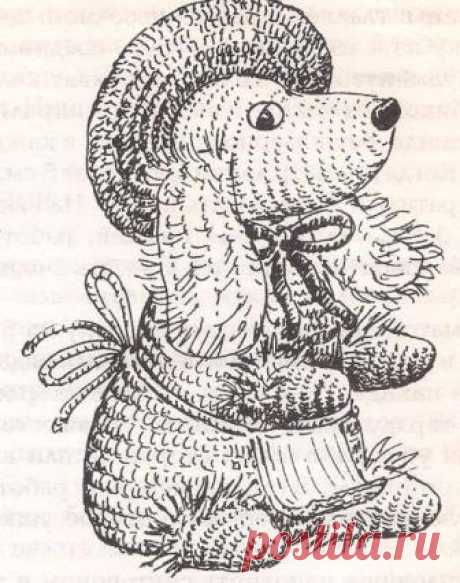 Doggie in a hat | KNITTING by spokes and a hook.